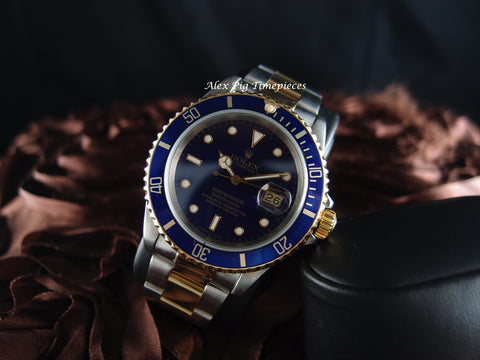 Rolex SUBMARINER 16613 2-Tone Blue Dial with Blue Bezel