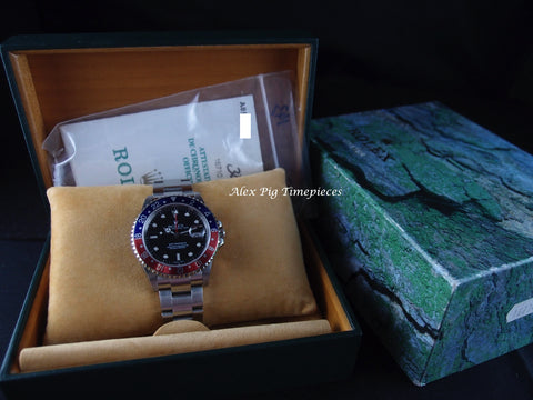 Rolex GMT MASTER 2 16710 Pepsi Red/Blue Bezel with BOX and PAPER