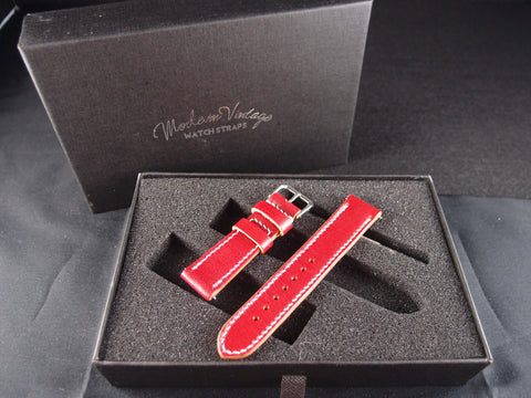 Vintage Rolex Handmade Italian Leather Strap - Love Red