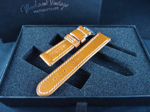 Vintage Rolex Handmade Italian Leather Strap - Amber