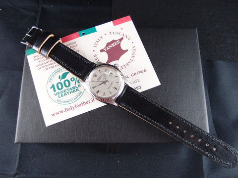 Vintage Rolex Handmade Italian Leather Strap - Midnight Black