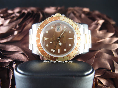 Rolex GMT MASTER 2 2-Tone 16713 with Brownish Dial and Bezel
