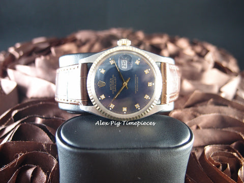 Rolex DATEJUST 16013 2-Tone SS/18k Gold Sea Blue Diamond Dial