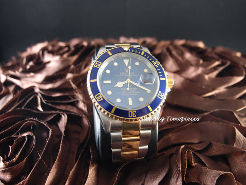 Rolex SUBMARINER 16613 2-Tone Blue Dial with Blue Bezel Full Set