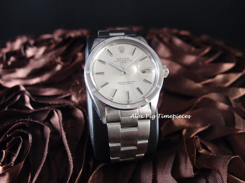 Rolex OYSTER DATE 1501 with Engine Turned Bezel and Original Silver Dial