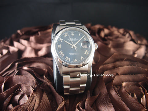 2001 Rolex DATEJUST 16200 Stainless Steel Original Blue Roman Dial