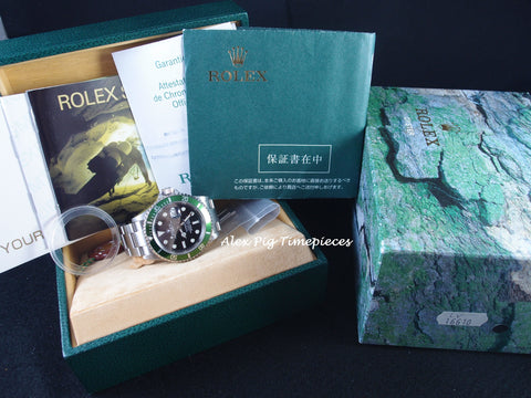 Rolex SUBMARINER 16610LV Green Bezel F Serial Flat 4 with Box and PAPER