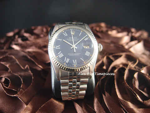 Rolex DATEJUST 16014 Stainless Steel Original Blue Roman Dial