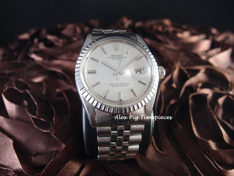 Rolex DATEJUST 1603 SS ORIGINAL Silver Texture Dial with Jubilee Band