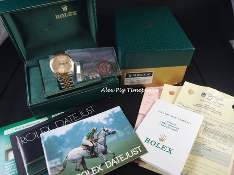 Rolex DATEJUST 16013 2-Tone SS/18k Gold ORIGINAL Gold Dial Full Set