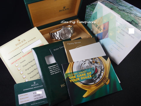 2002 Rolex AIR KING 14010M Engine Turned Original Silver Dial Full Set