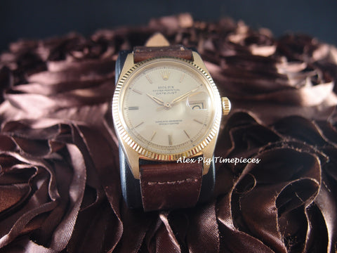 1957 Rolex DATEJUST 6605 18K Yellow Gold with Gold Dial