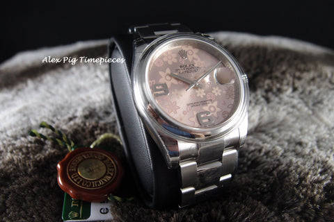 Rolex DATEJUST 116200 Stainless Steel Pink Flora Dial Full Set