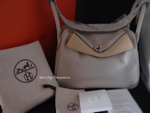 BRAND NEW Hermes Lindy 30 Gris Perle Colour Q Stamp Full Set