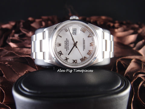 Rolex DATEJUST 16200 Stainless Steel Original White Roman Dial Full Set
