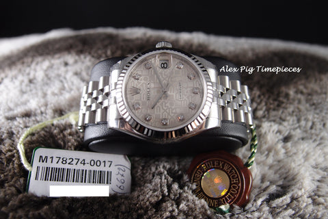 Rolex DATEJUST 178274 Boy Size Silver Computer Diamond Dial Full Set