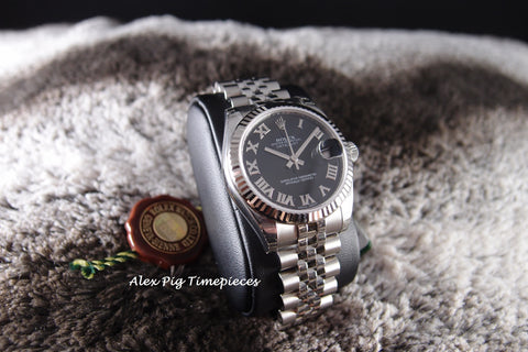 Rolex DATEJUST 178274 Boy Size Black Roman Dial Full Set