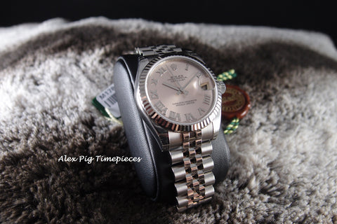 Rolex DATEJUST 178274 Boy Size Pink Roman Dial Full Set