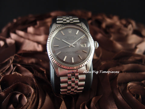 Rolex DATEJUST 1601 SS ORIGINAL Purplish Grey Dial with Jubilee Band