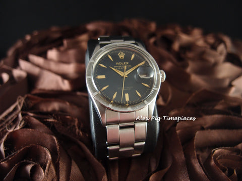 Rolex OYSTER DATE 6535 Original Glossy Black Dial with Rivet Band