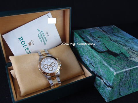 Rolex DAYTONA 16523 2-Tone White Dial with BOX and PAPER