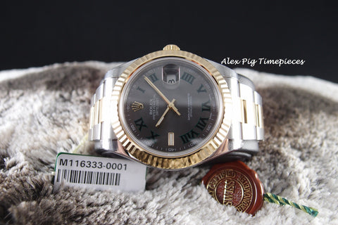 Rolex DATEJUST 2 116333 2-Tone Grey Green Roman Dial Full Set