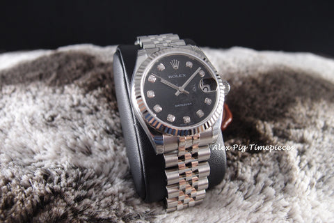 Rolex DATEJUST 178274 Boy Size Black Computer Diamond Dial Full Set