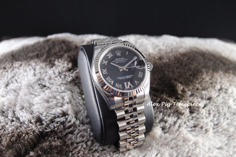 Rolex DATEJUST 178274 Boy Size Purple VI Diamond Dial Full Set