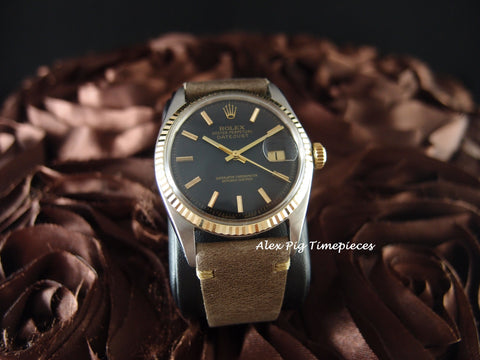 Rolex DATEJUST 1601 2-Tone SS/18k Gold ORIGINAL Black Dial