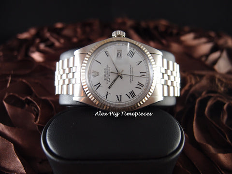 Rolex DATEJUST 1601 SS White Roman Dial with Jubilee Band