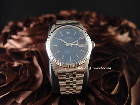 Rolex DATEJUST 16234 SS Blue Dial with Box and Paper