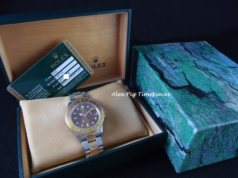 Rolex GMT MASTER 2 2-Tone 16713 with Brownish Dial and Bezel with Card