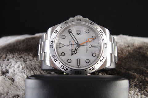 Rolex EXPLORER 2 216570 White Dial Orange Hand Full Set