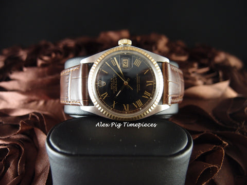 Rolex DATEJUST 1601 2-Tone SS/18k Gold Black Dial Gold Roman Dial