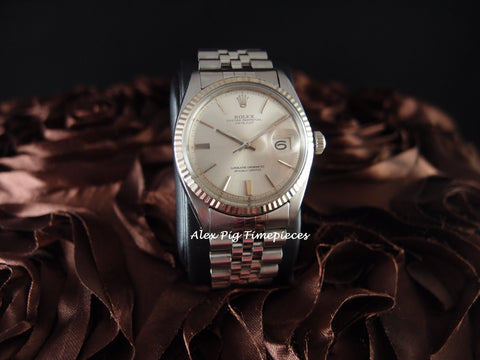 Rolex DATEJUST 1601 SS ORIGINAL Silver Doorstep Dial with Jubilee Band