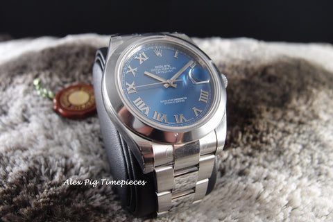 Rolex DATEJUST 2 116300 Blue Roman Dial with Smooth Bezel Full Set