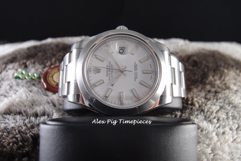 Rolex DATEJUST 2 116300 White Stick Dial with Smooth Bezel Full Set