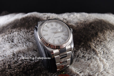 Rolex DATEJUST 2 116334 White Stick Dial with White Gold Bezel Full Set