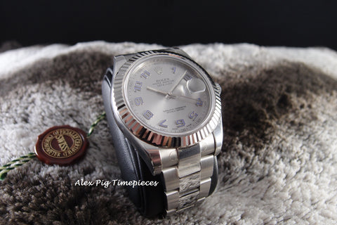 Rolex DATEJUST 2 116334 Silver Arabic Dial with White Gold Bezel Full Set
