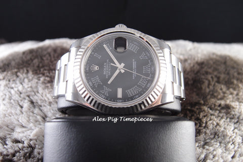 Rolex DATEJUST 2 116334 Black Roman Dial with White Gold Bezel Full Set
