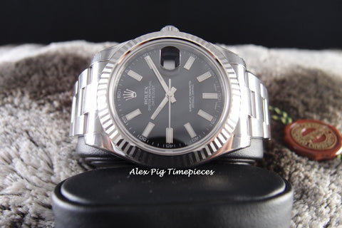 Rolex DATEJUST 2 116334 Black Stick Dial with White Gold Bezel Full Set