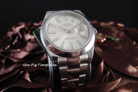 Rolex DATEJUST 2 116300 Silver Stick Dial with Smooth Bezel Full Set