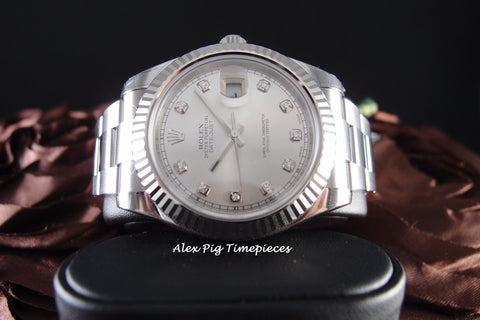 Rolex DATEJUST 2 116334 Silver Diamond Dial with White Gold Bezel Full Set