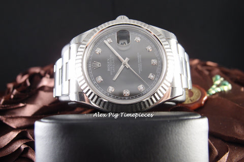 Rolex DATEJUST 2 116334 Rhodium Diamond Dial with White Gold Bezel Full Set