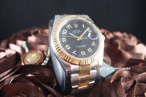Rolex DATEJUST 2 116333 2-Tone Black Arabic Dial Full Set