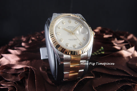 Rolex DATEJUST 2 116333 2-Tone Ivory Diamond Dial Full Set