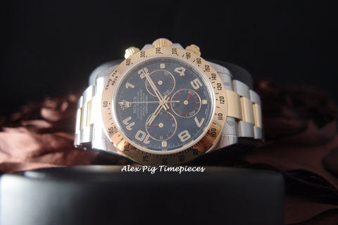 Rolex DAYTONA 116523 2-Tone Blue Arabic Dial Full Set