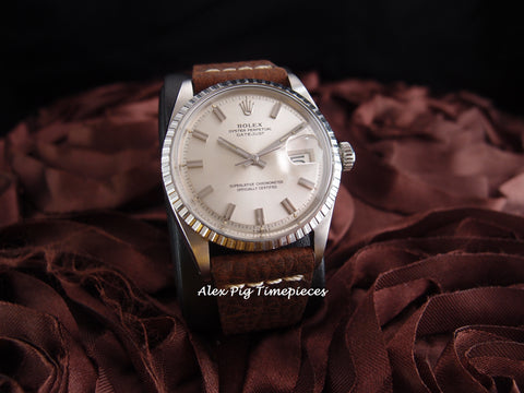Rolex DATEJUST 1603 SS ORIGINAL Silver Wide Boy Dial