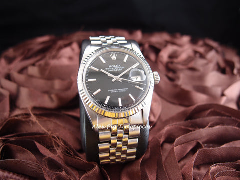 Rolex DATEJUST 1601 SS ORIGINAL Black Dial with Jubilee Band