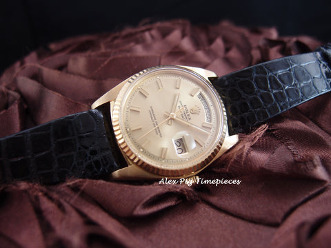 Rolex DAY-DATE 1803 18K Gold with Original Gold Wide Boy Dial